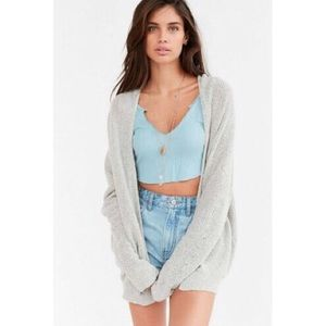 UO BDG Ivy open knit cardigan sweater in gray